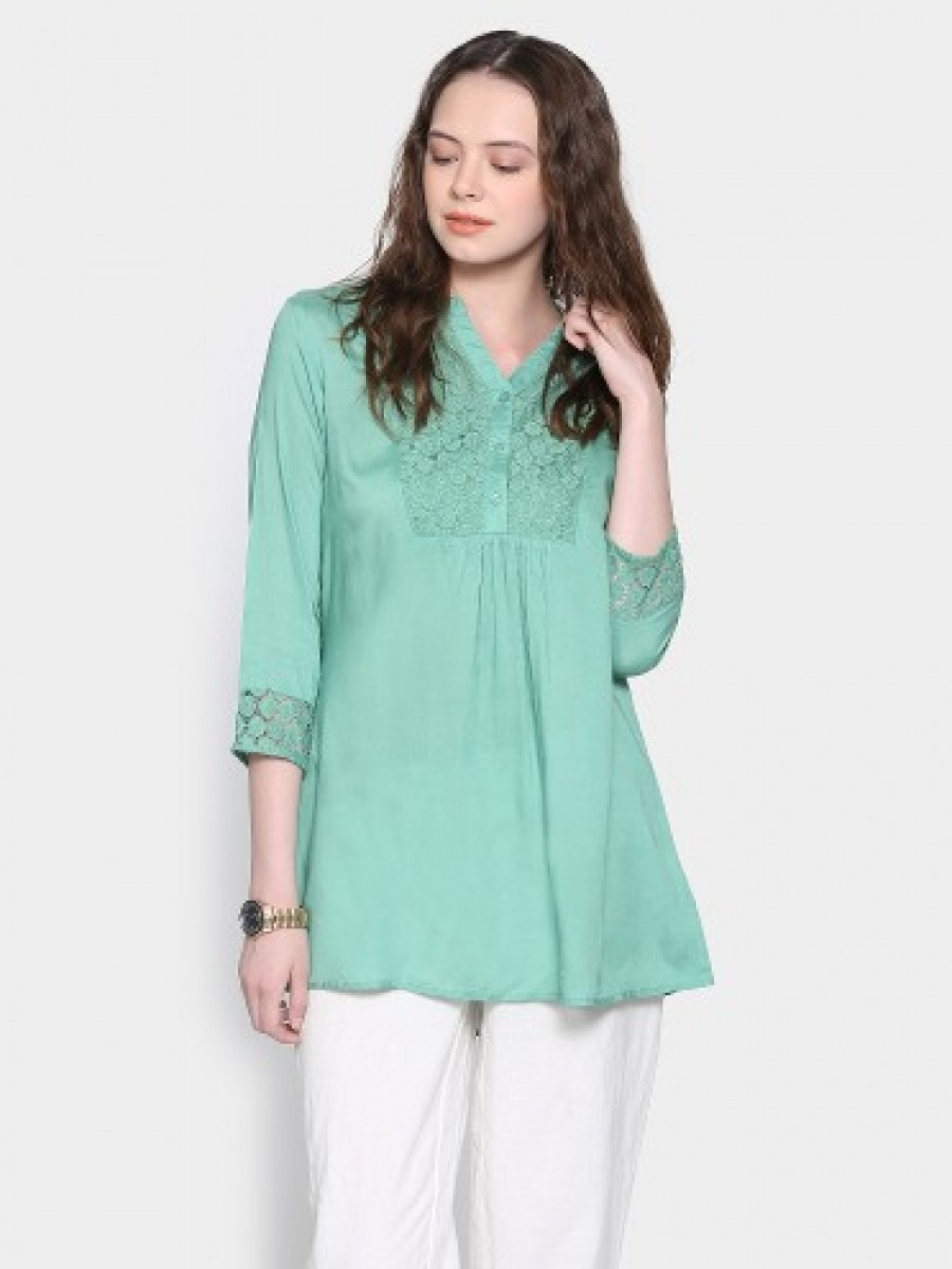 Buy abof Fusion Sea Green Regular Fit A-line Kurti Online