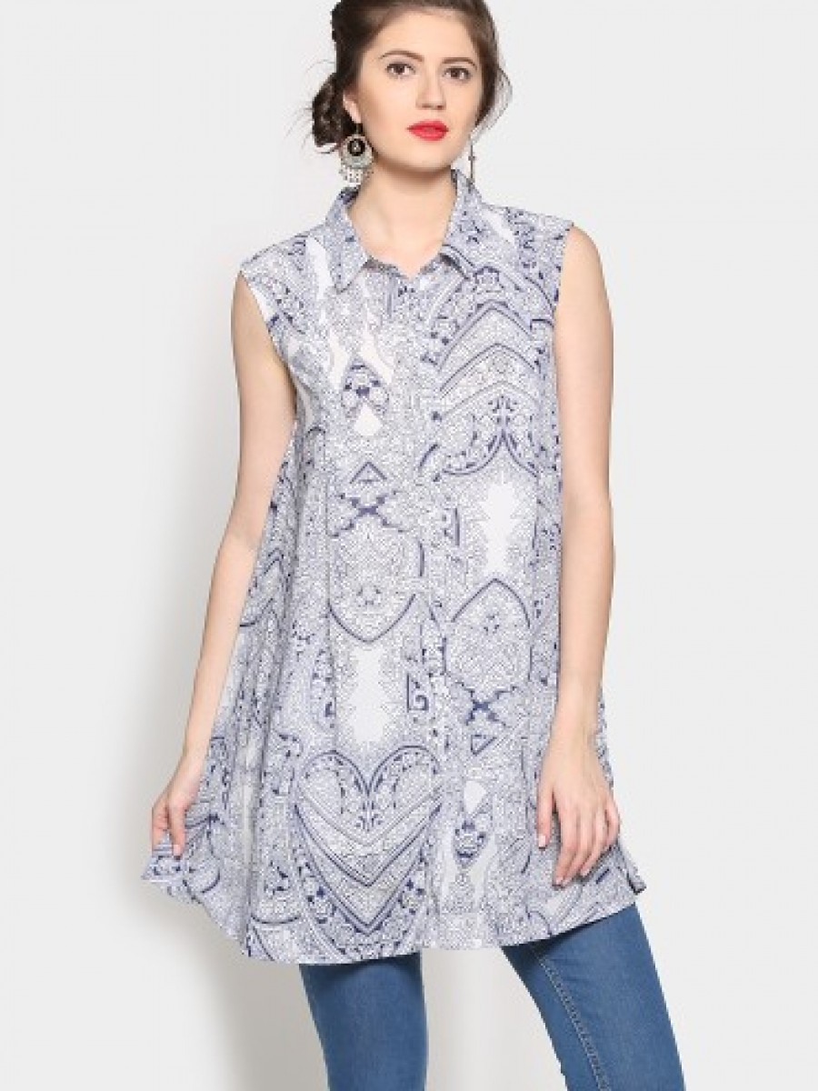 Buy abof Ethnic White & Blue Printed Regular Fit A-line Kurti Online