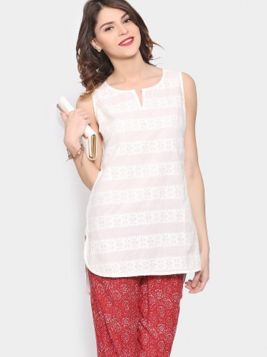 Buy Melange by Lifestyle Women Off-white Regular Fit Kurti Online