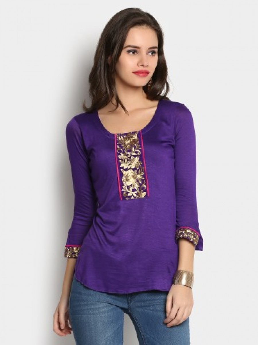 Buy Ira Soleil Women Purple Regular Fit Kurti Online