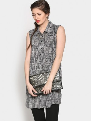 Buy abof Ethnic Black & White Printed Regular Fit A-line Kurti Online