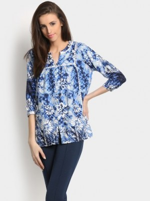 Buy Global Desi Women Blue & White Printed Regular Fit Kurti Online