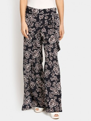 Buy Harpa Women Navy Floral Print Regular Fit Palazzo Pants Online