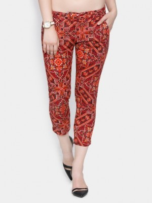 Buy Code by Lifestyle Women Red Printed Regular Fit Cropped Trousers Online