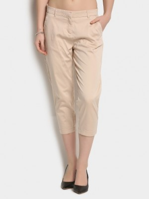 Buy Code by Lifestyle Women Beige Cropped Regular Fit Pants Online