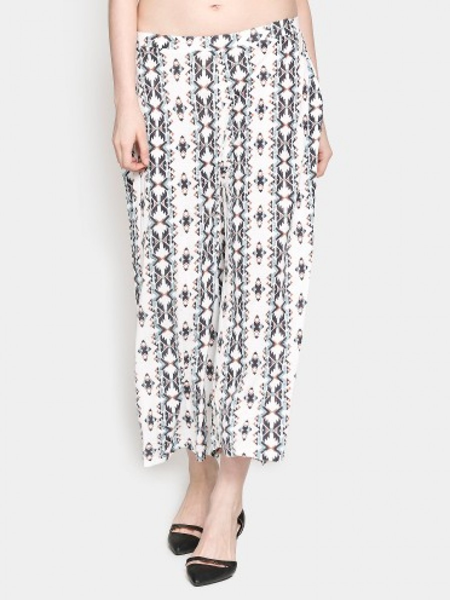 Buy Ginger by Lifestyle Women Off-white Printed Casual Trousers Online