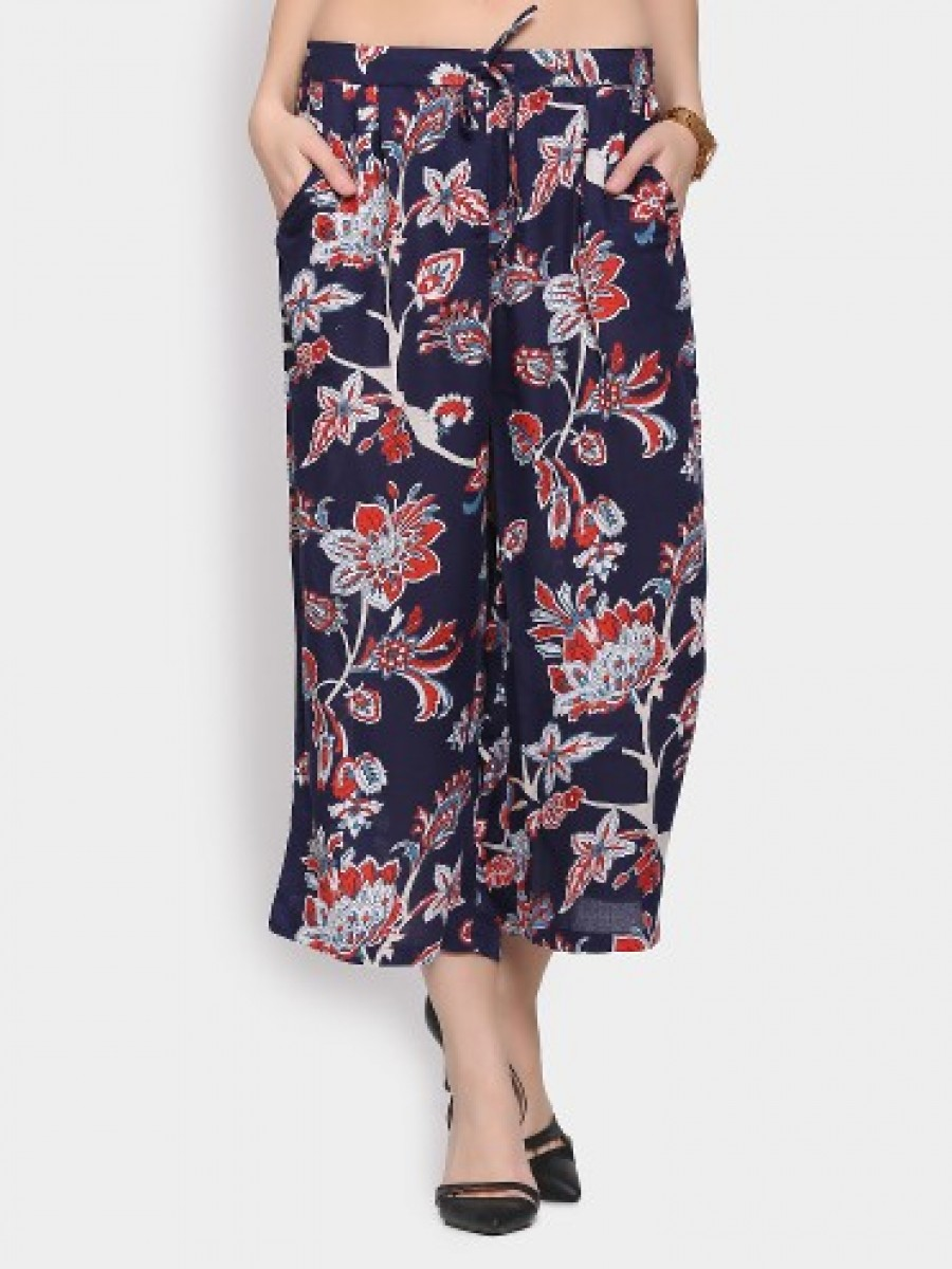 Buy Ginger by Lifestyle Women Navy Printed Regular Fit Culottes Online