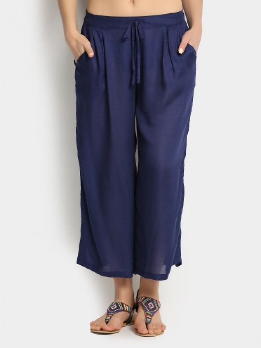 Buy Ginger by Lifestyle Women Navy Casual Regular Fit Trousers Online