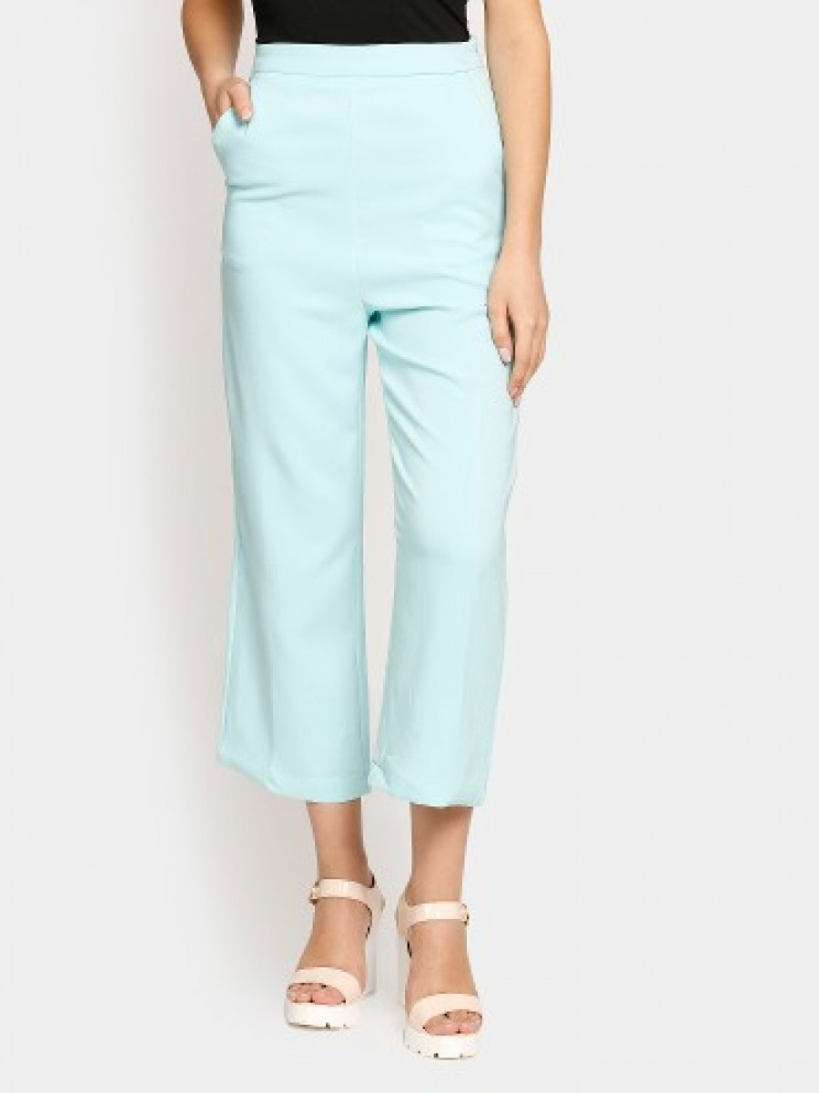 Buy Harpa Women Sky Blue Regular Fit Trousers Online