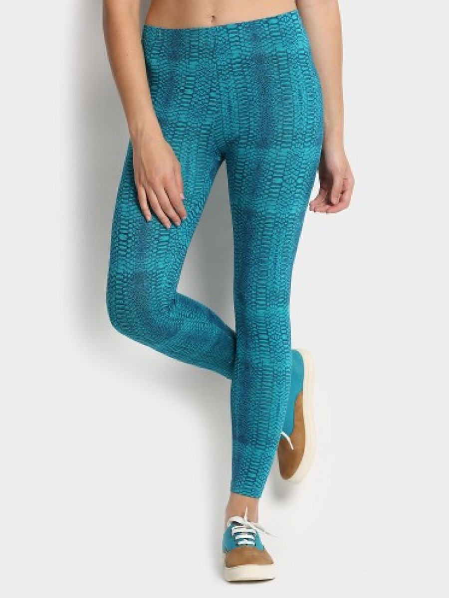 Buy Candies by Pantaloons Women Teal Blue Printed Skinny Fit Trousers Online