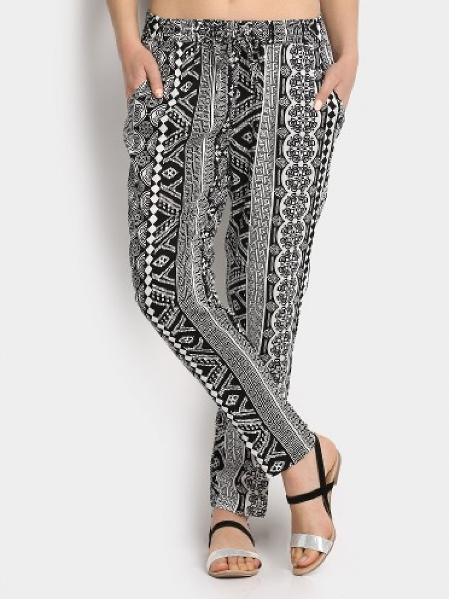 Buy Fame Forever by Lifestyle Women Black Printed Casual Trousers Online