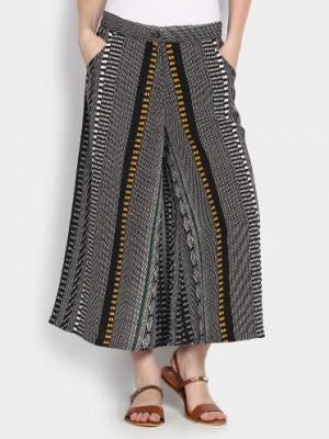 Buy AND Women Black & White Printed Regular Fit Palazzo Pants Online