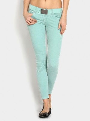 Buy Deal Jeans Women Light Green Slim Fit Corduroy Trousers Online