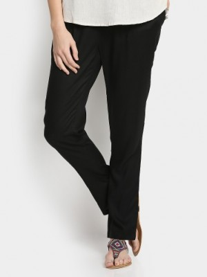 Buy 109F Women Black Regular Fit Casual Pants Online