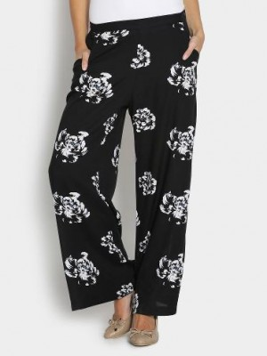 Buy United Colors of Benetton Women Black Floral Print Relaxed Fit Palazzo Pants Online