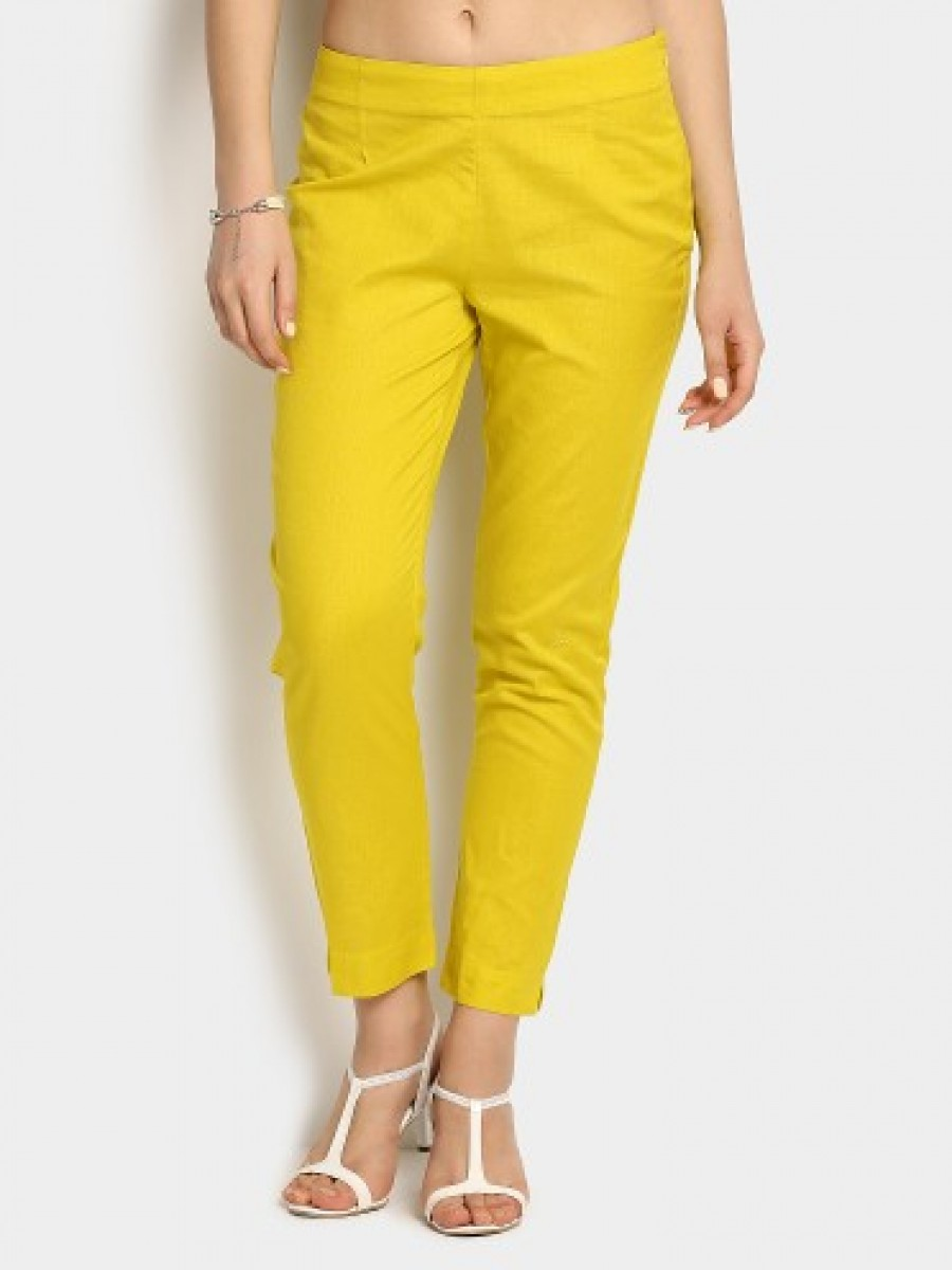 Buy W Women Lime Green Cropped Regular Fit Pants Online