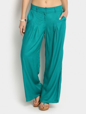 Buy W Women Green Regular Fit Palazzo Pants Online