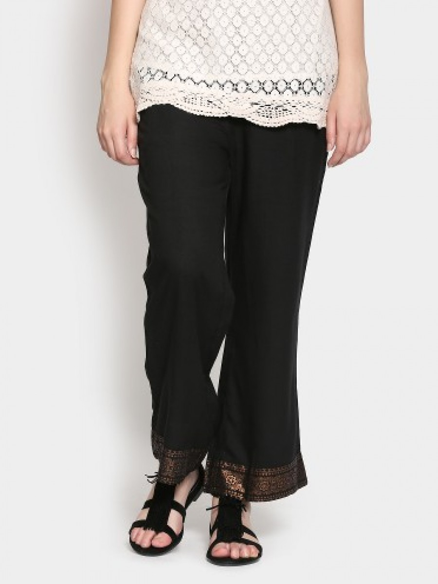 Buy Melange by Lifestyle Women Black Regular Fit Palazzo Pants Online
