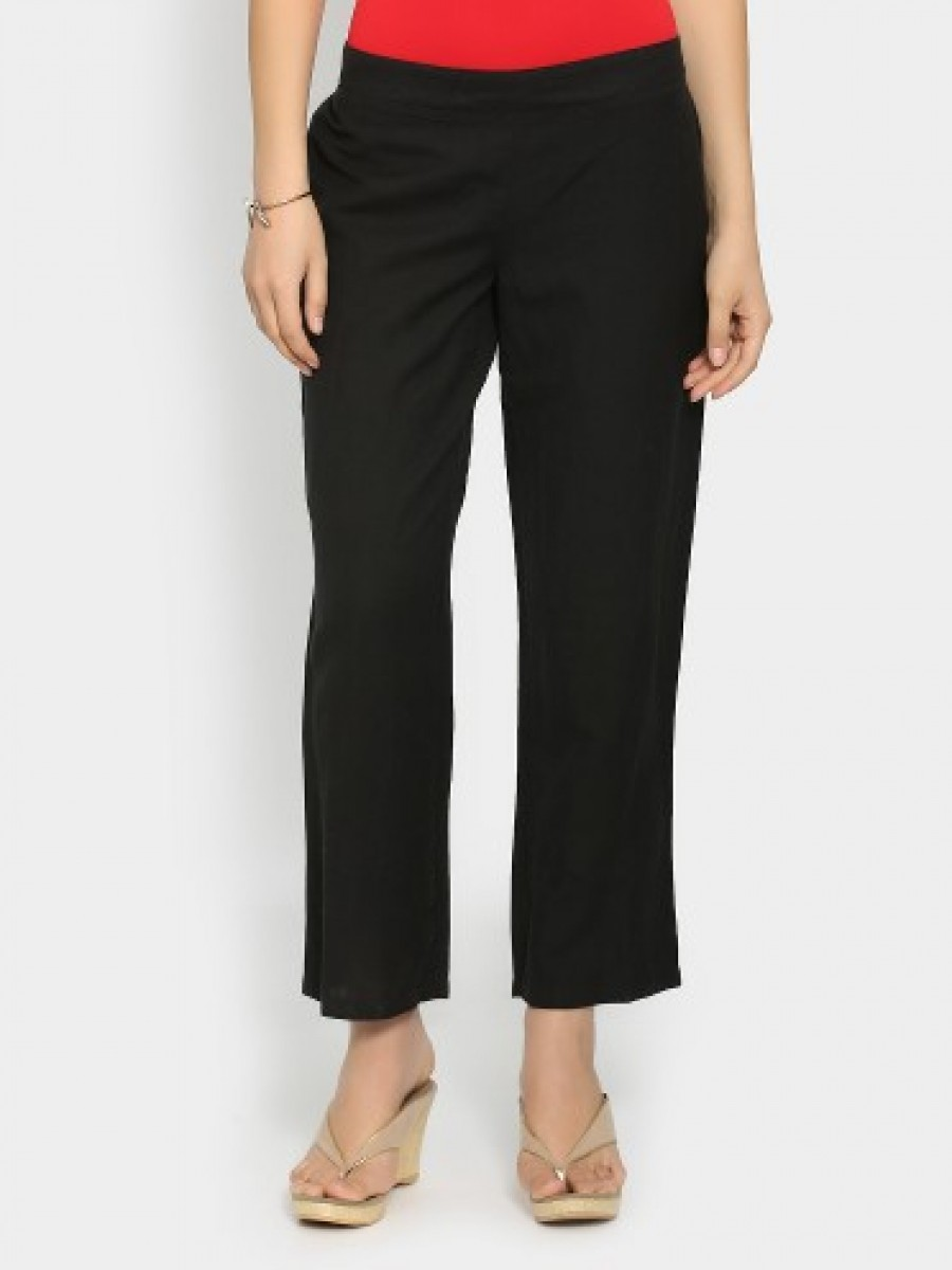 Buy Melange by Lifestyle Women Black Linen Blend Regular Fit Pants Online