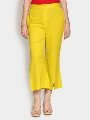 Buy W Women Yellow Linen Blend Regular Fit Cropped Pants Online