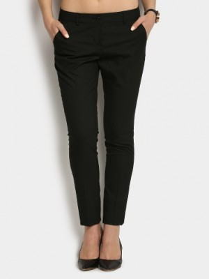 Buy Annabelle by Pantaloons Women Black Slim Fit Trousers Online