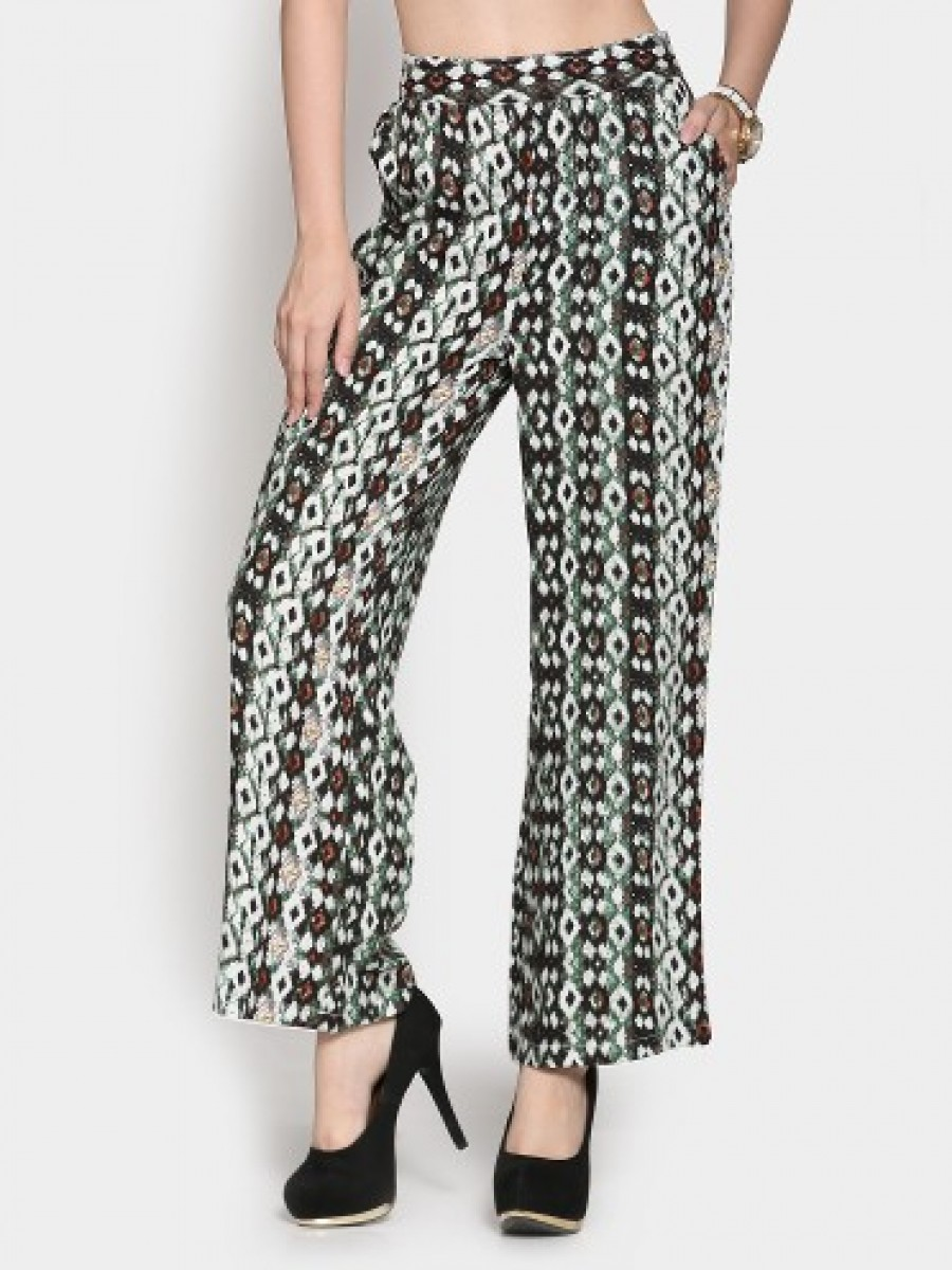 Buy Code by Lifestyle Women Multicolor Printed Regular Fit Palazzo Pants Online