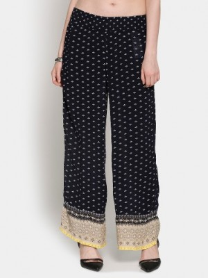 Buy Only Women Navy Printed Regular Fit Trousers Online