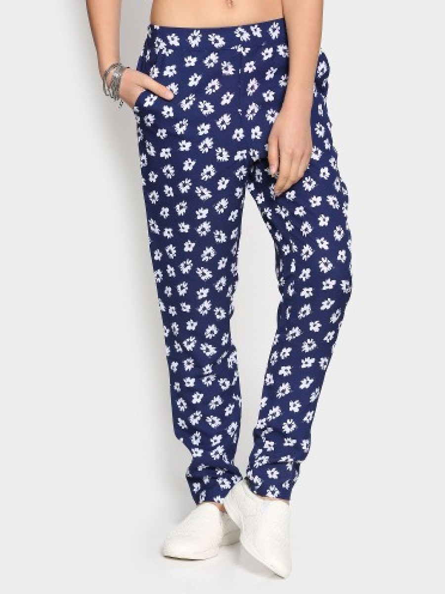 Buy Honey by Pantaloons Women Navy Printed Regular Fit Trousers Online