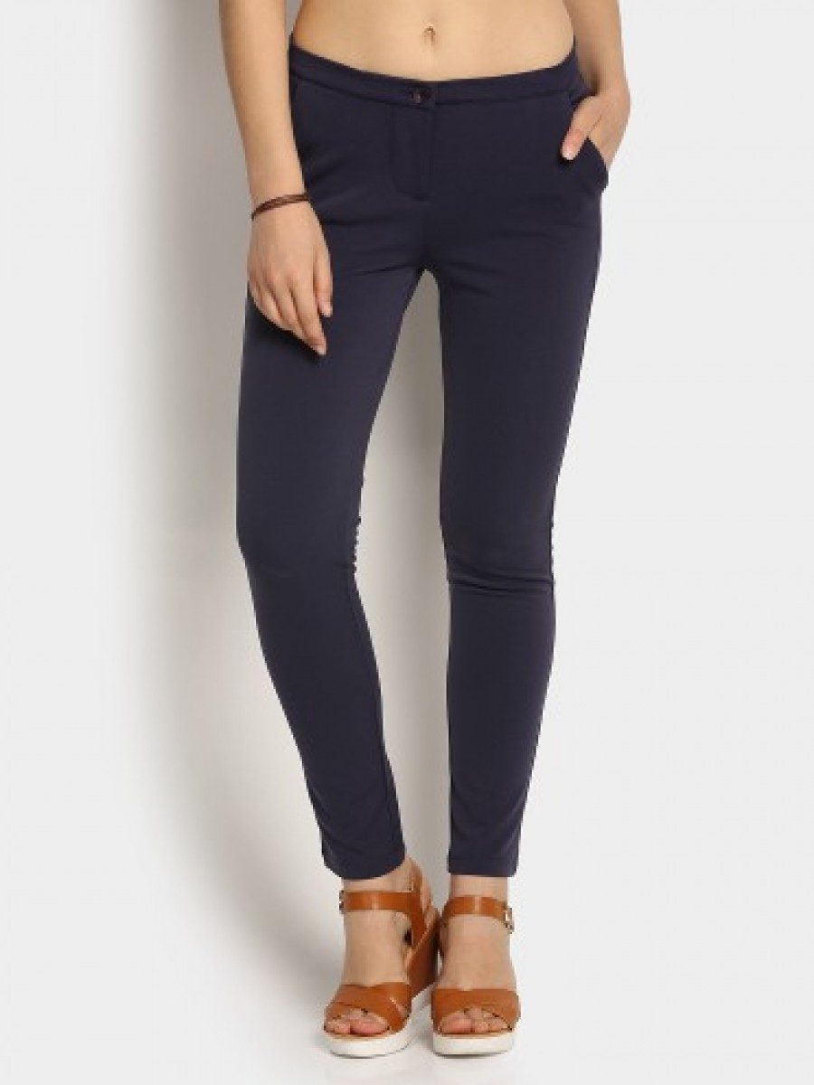 Buy United Colors of Benetton Women Navy Semiformal Trousers Online