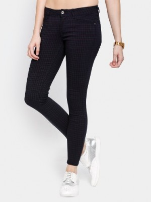 Buy Deal Jeans Women Navy Checkered Regular Fit Trousers Online