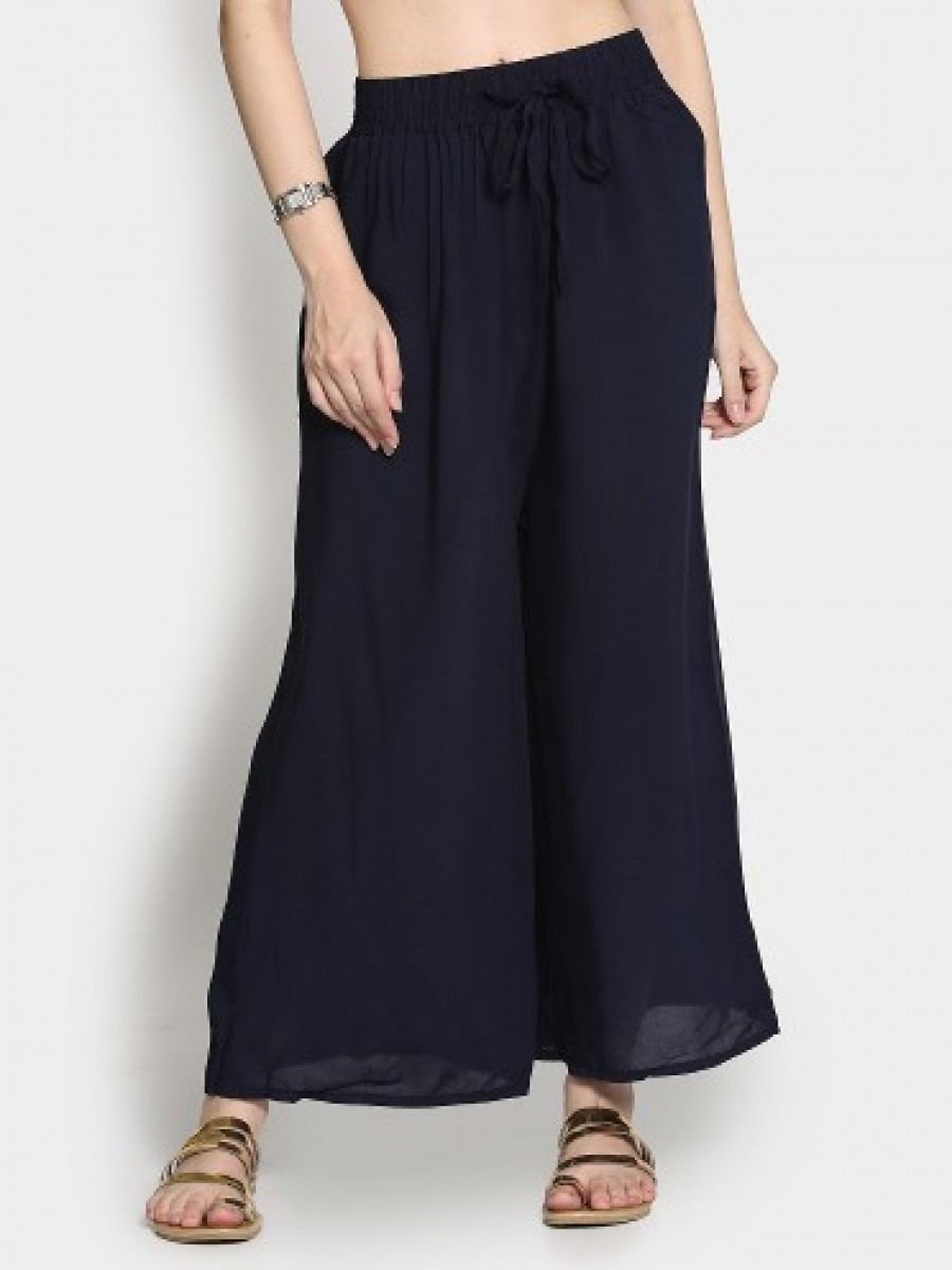Buy Ginger by Lifestyle Women Dark Blue Regular Fit Palazzo Pants Online