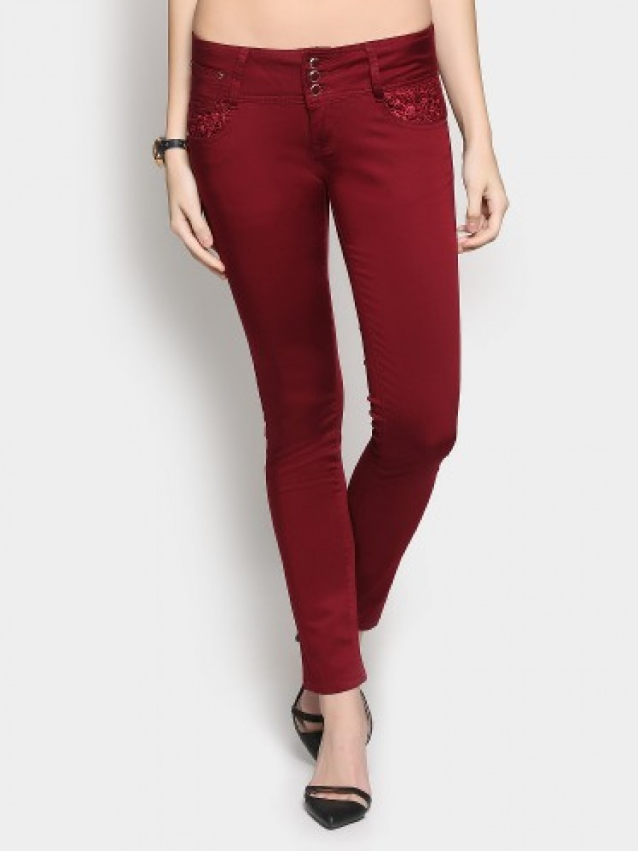 Buy Deal Jeans Women Maroon Regular Fit Trousers Online