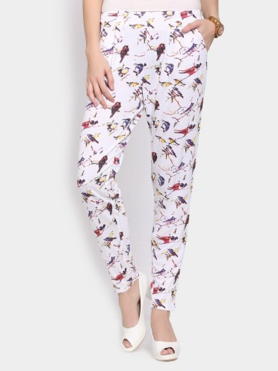 Buy Ginger by Lifestyle Women Off-white Printed Regular Fit Pants Online