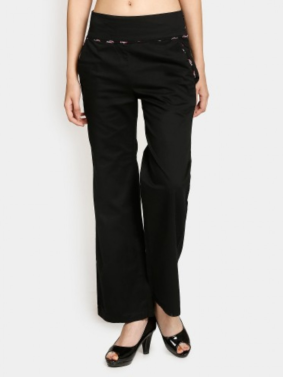 Buy Nineteen Women Black Flared Pants Online