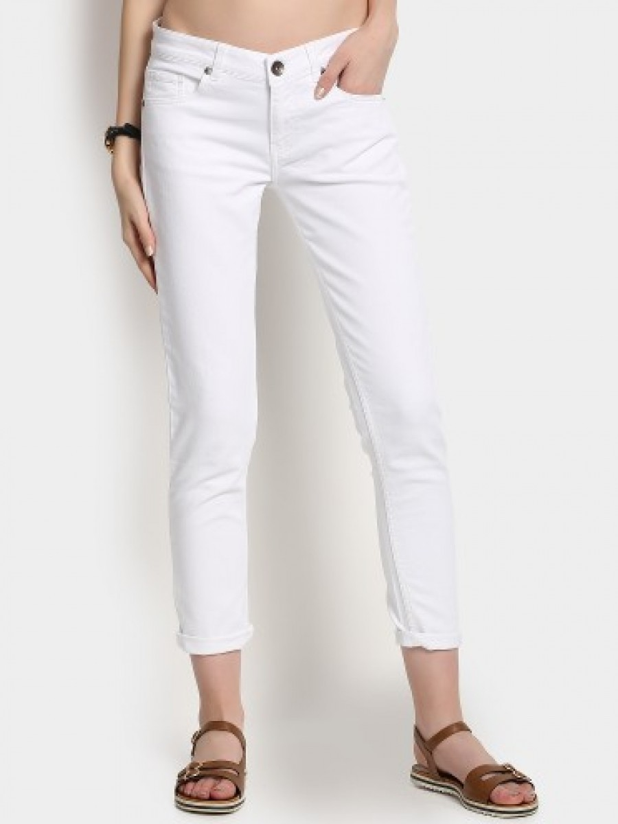 Buy United Colors of Benetton Women White Slim Fit Denim Trousers Online