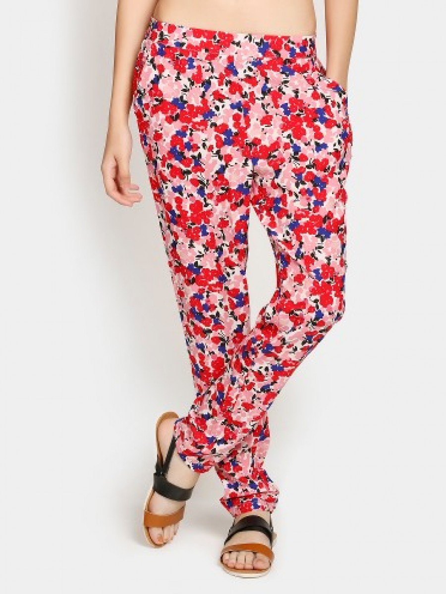 Buy Honey by Pantaloons Women Red Floral Print Regular Fit Trousers Online