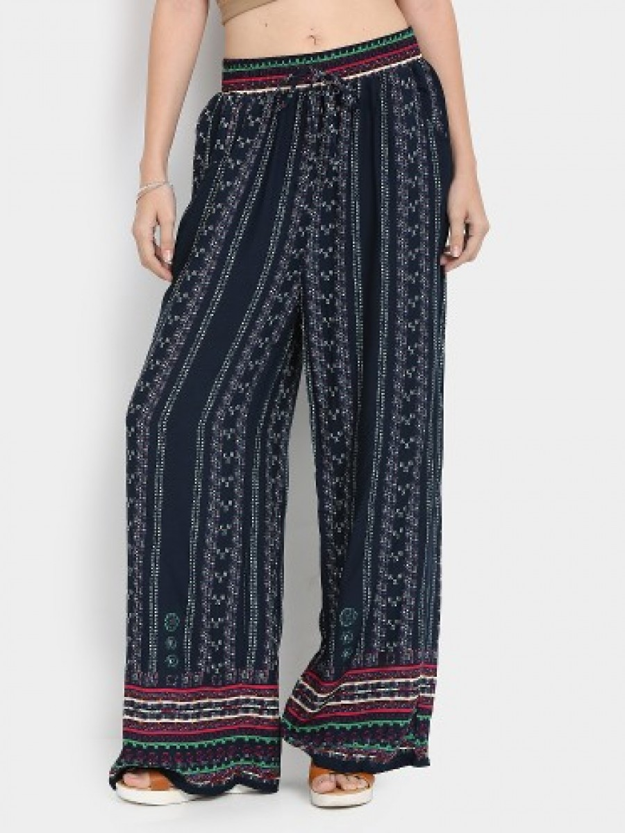 Buy Ginger by Lifestyle Women Navy Printed Regular Fit Palazzo Pants Online