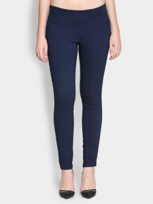 Buy Izabel London by Pantaloons Women Navy Regular Fit Trousers Online