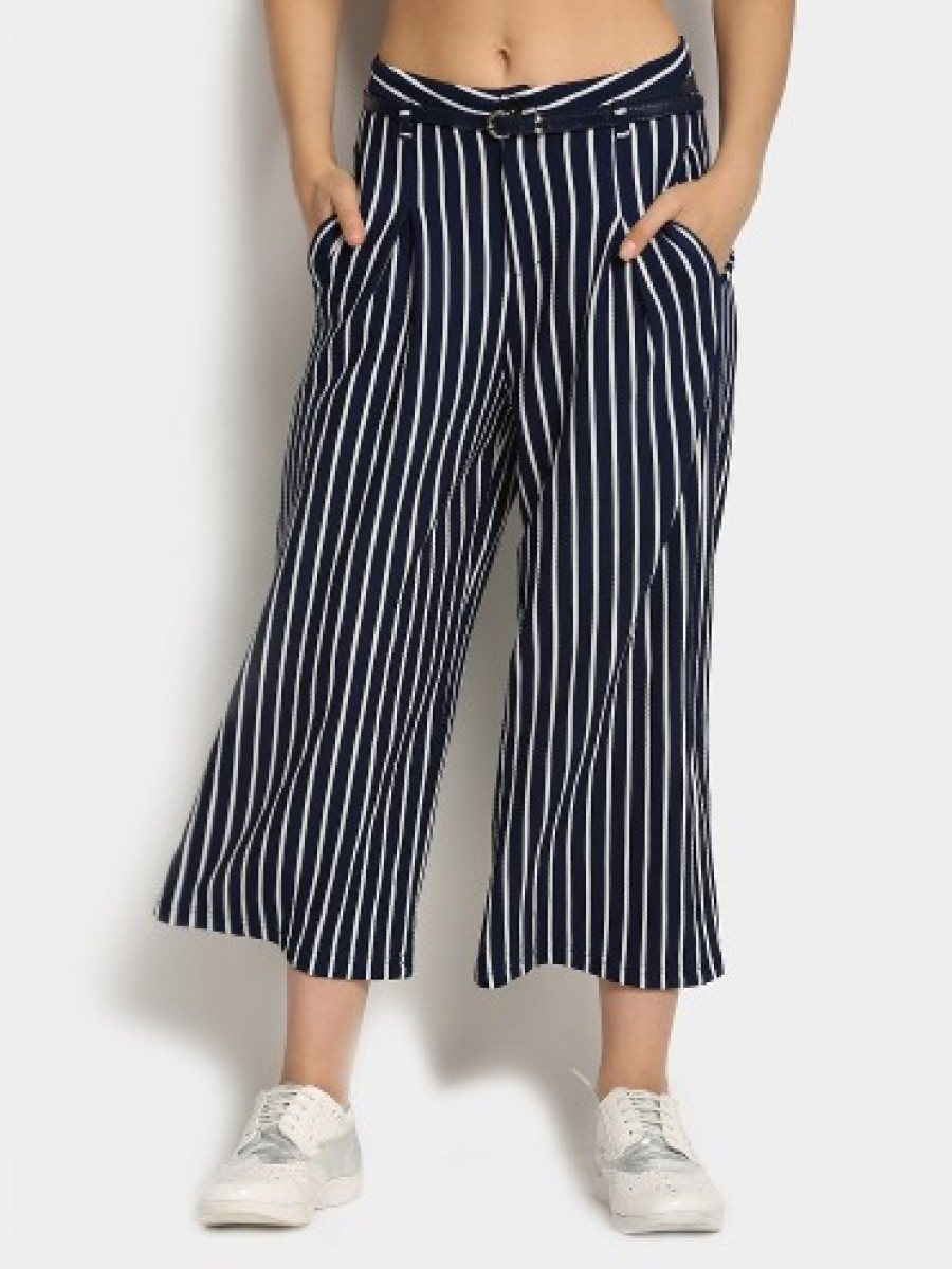 Buy Deal Jeans Women Navy & White Striped Slim Fit Palazzo Pants Online