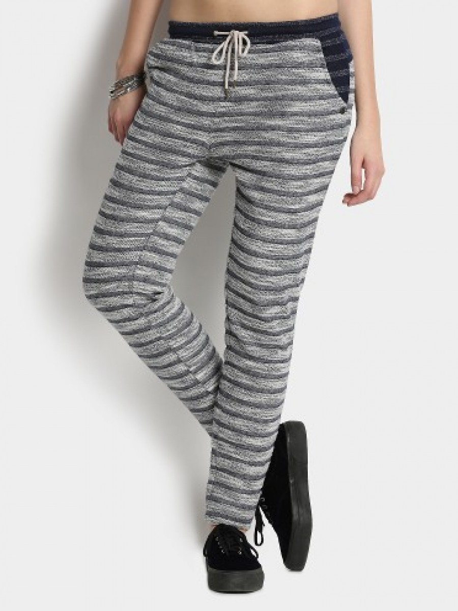 Buy Vero Moda Women White & Grey Regular Fit Trousers Online