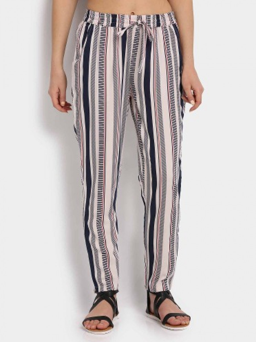 Buy Fame Forever by Lifestyle Women Off-white Printed Trousers Online