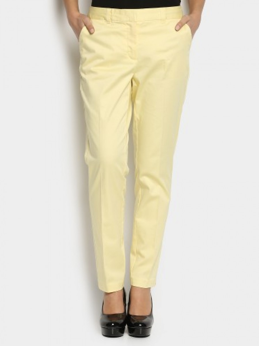 Buy Vero Moda Women Cream-colored Slim Fit Pants Online