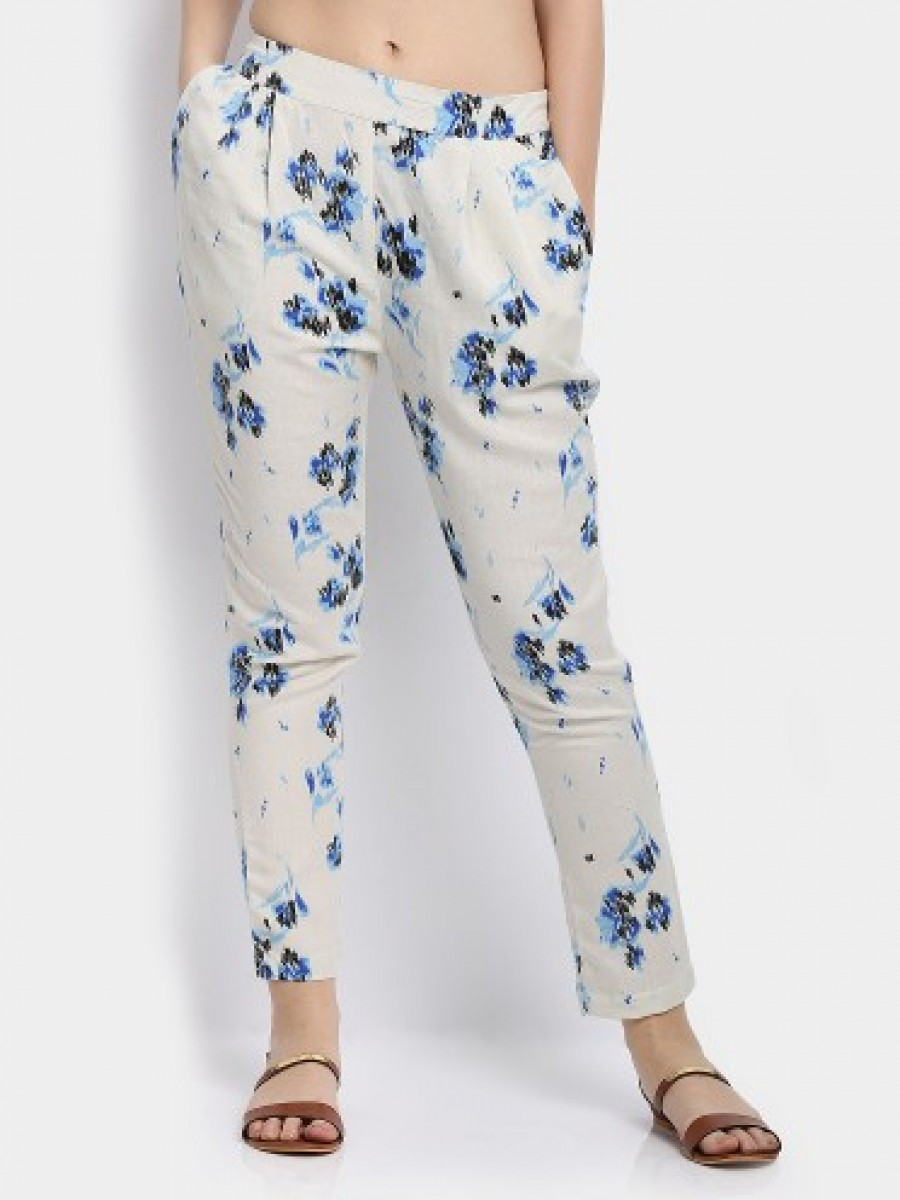 Buy 109F Women Off-white & Blue Printed Regular Fit Lounge Pants Online