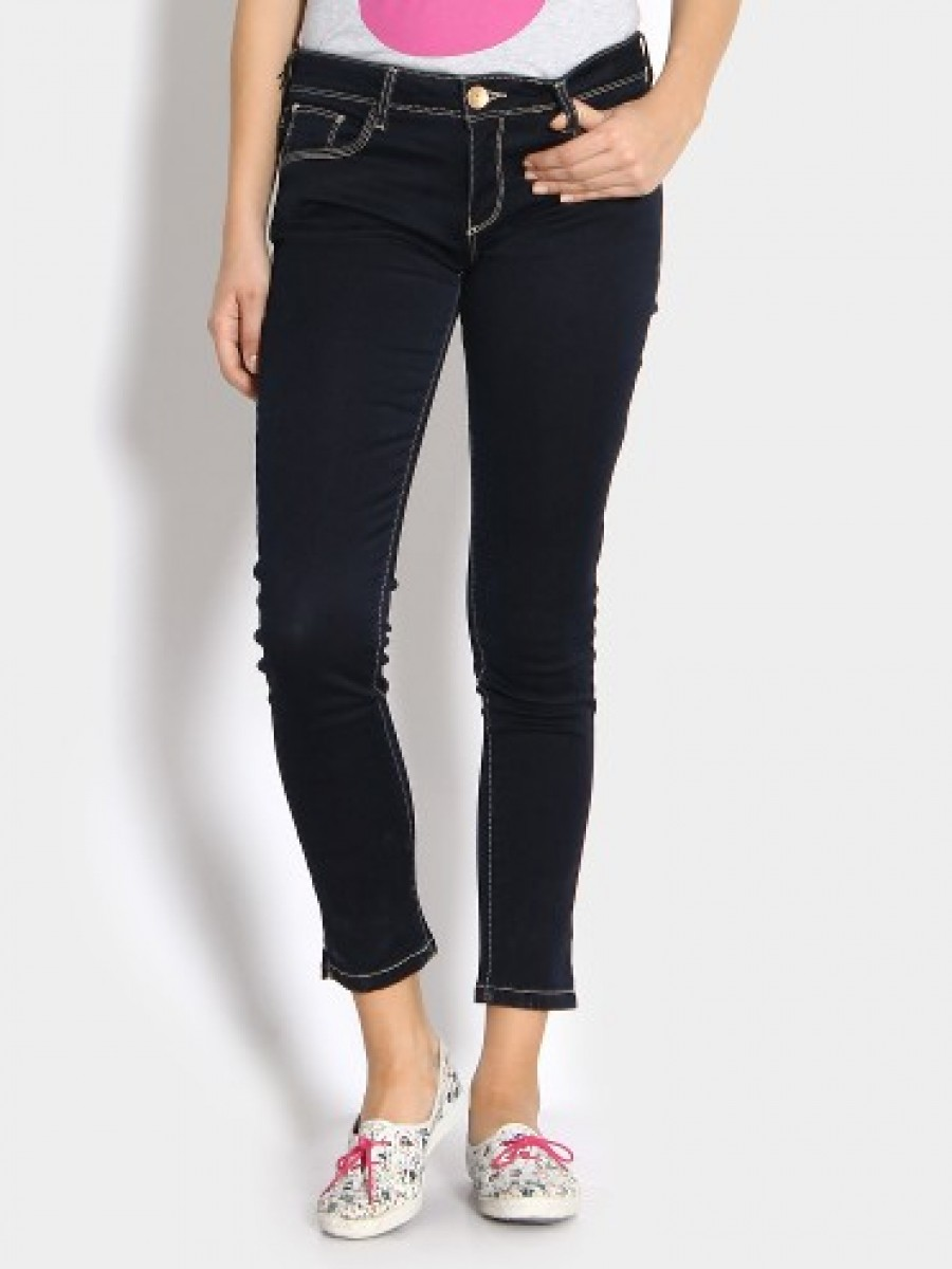 Buy United Colors of Benetton Women Navy Skinny Fit Jeans Online