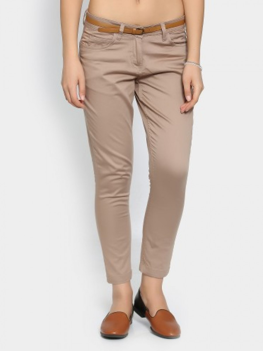 Buy Honey by Pantaloons Women Mousse Brown Regular Fit Trousers Online
