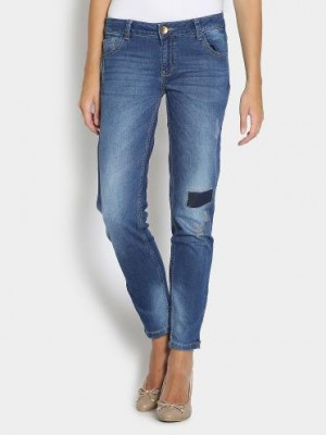 Buy United Colors Of Benetton Women Blue Distressed Slim Fit Jeans Online