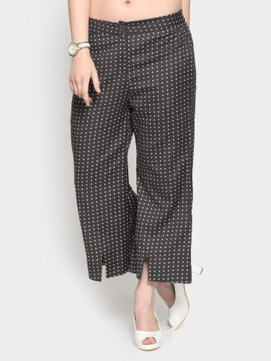 Buy W Women Dark Grey Dot Print Regular Fit Casual Trousers Online