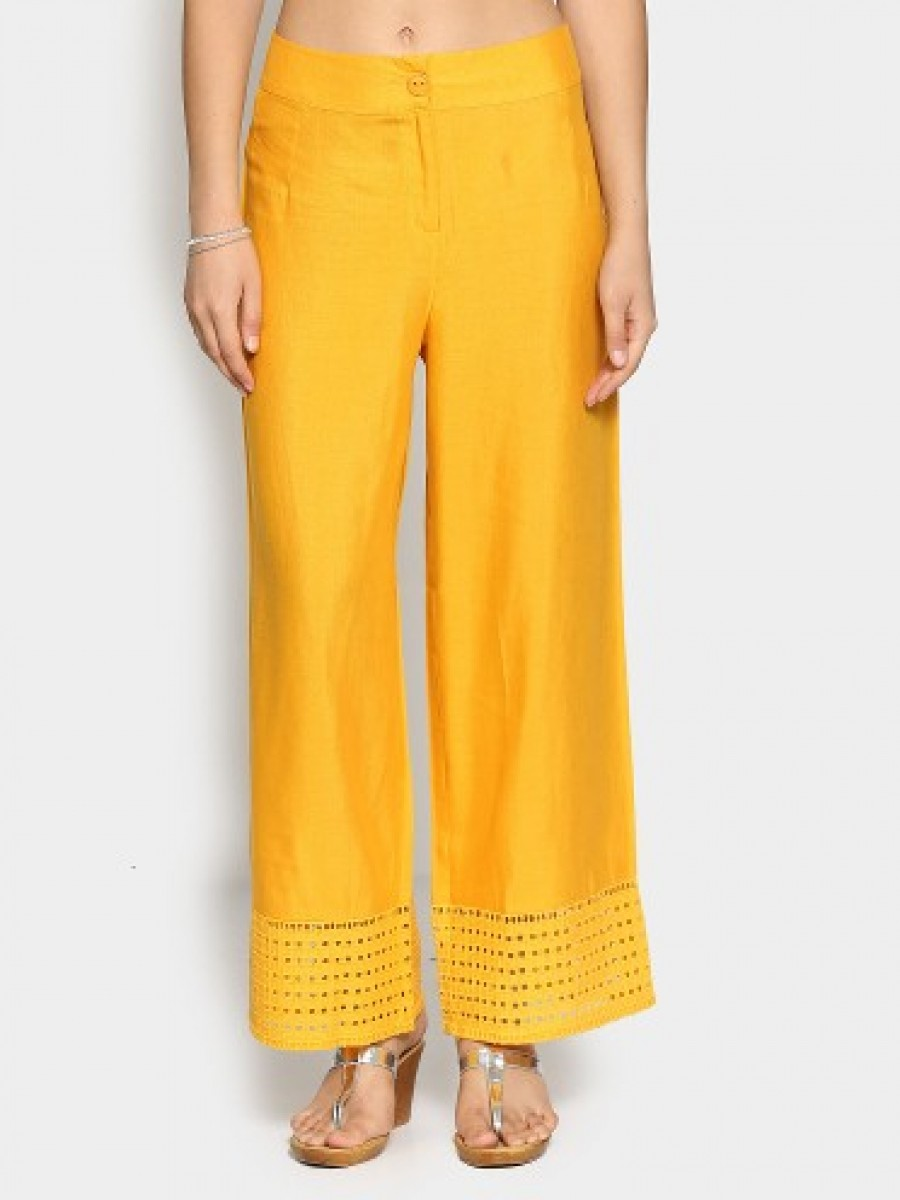 Buy Global Desi Women Yellow Linen Blend Comfort Fit Trouser Pants Online