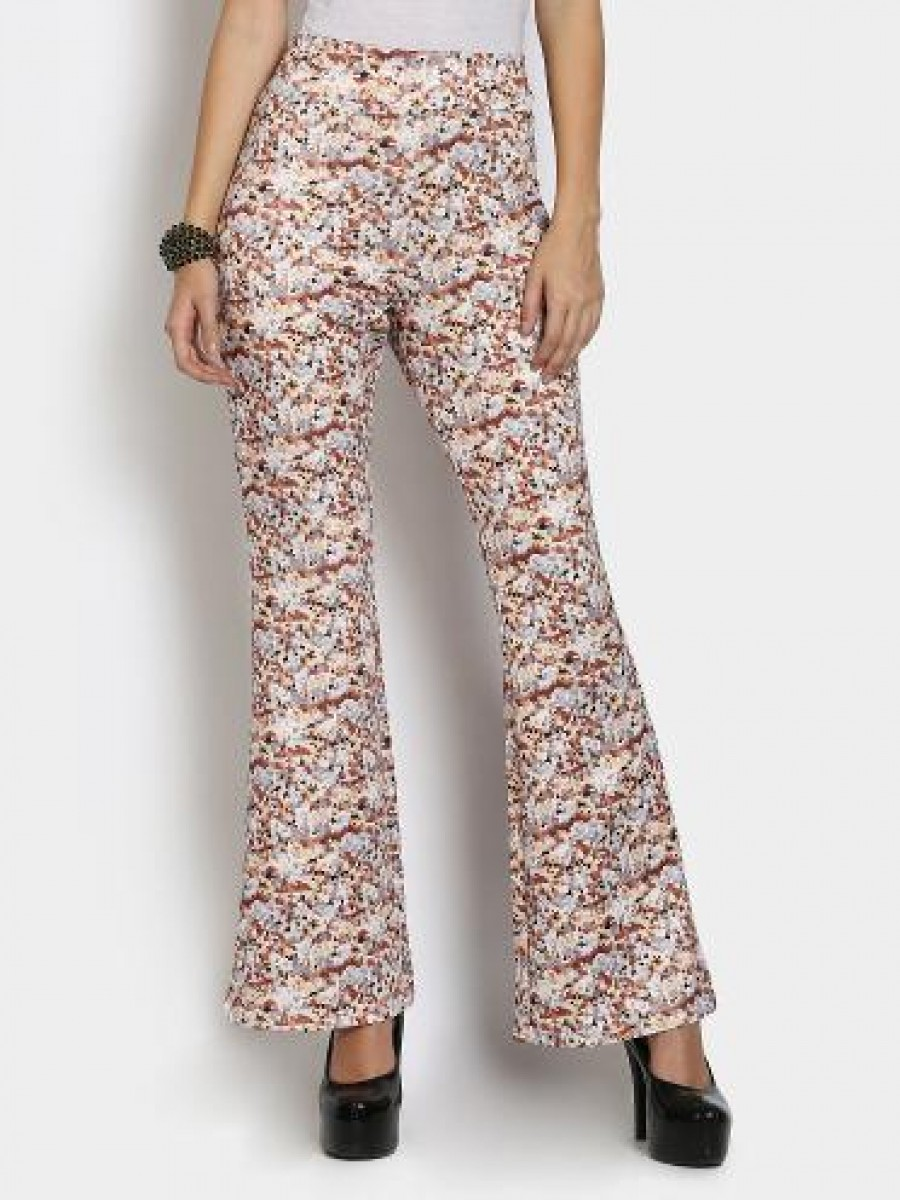 Buy Nineteen Women Multicolor Wide Leg Relaxed Fit Trousers Online