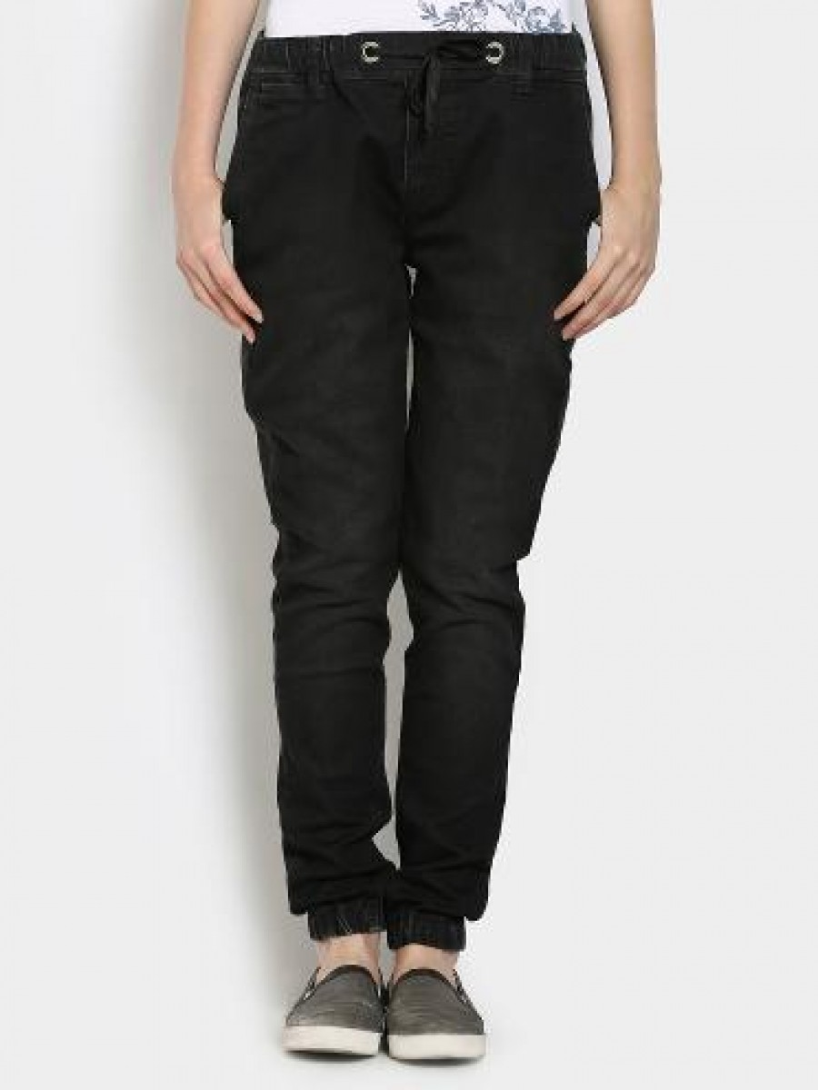 Buy Pepe Women Black Regular Fit Trousers Online